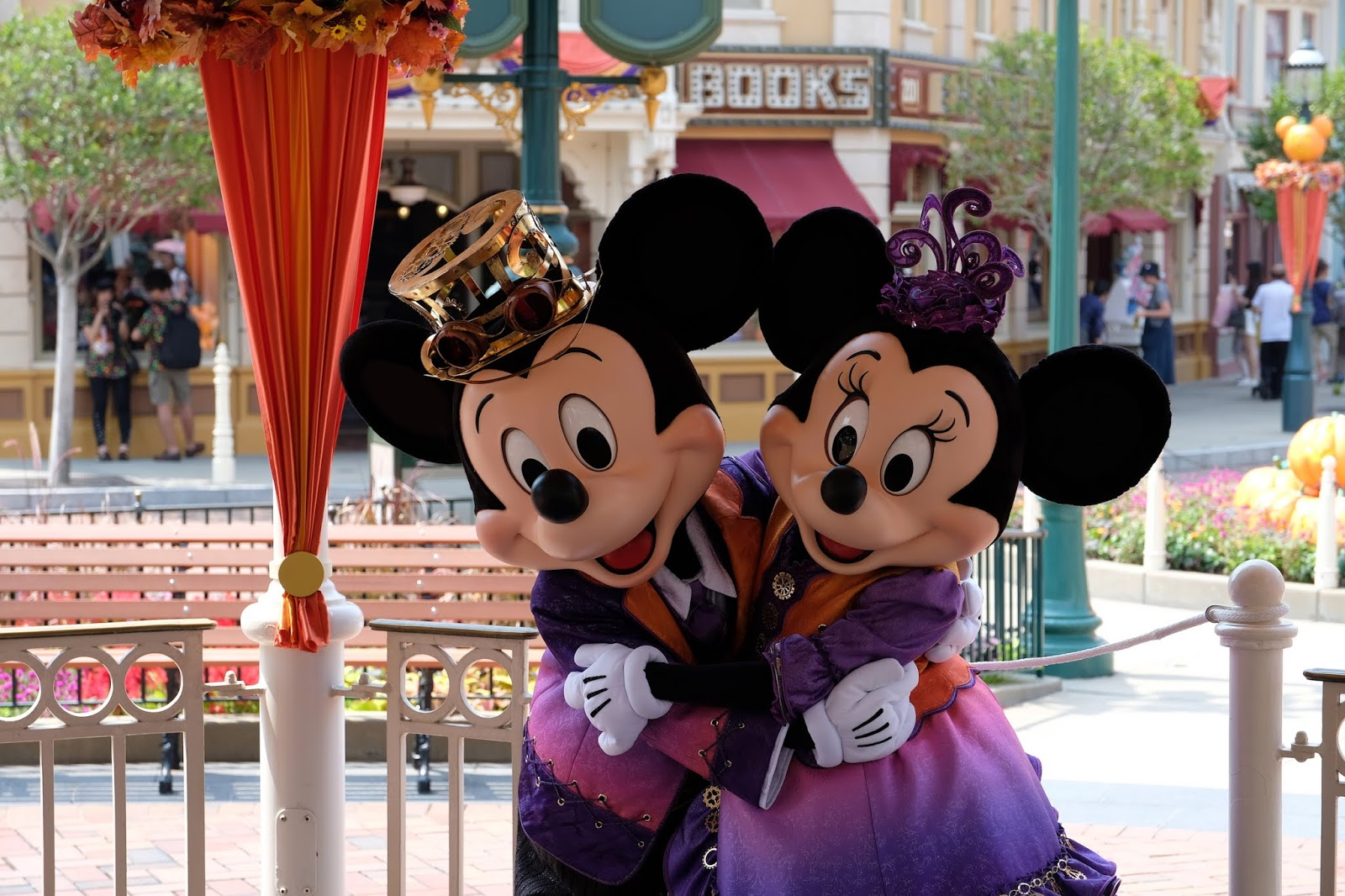 Mickey Mouse and Minnie Mouse in Halloween outfits at Hong Kong Disneyland