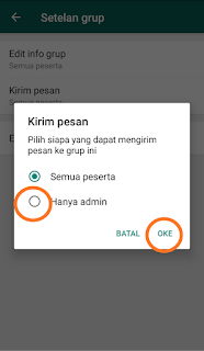 Cara mudah agar admin WhatsApp yang bisa kirim pesan di grup