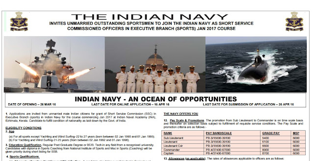Indian Navy Recruitment 2016 - 2017 Short Service Commission (SSC) Officers (SPORTS)