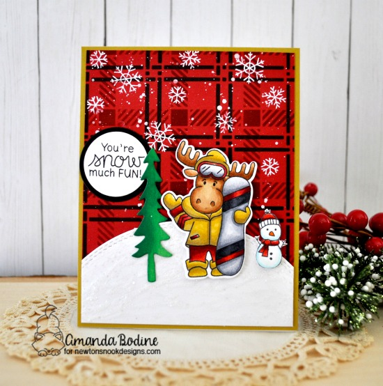 Snowboard Moose Card by Amanda Bodine | Mouse Mountain Stamp Set, Snowman Advice Stamp Set, Forest Scene Builder Die Set and Plaid Stencil Set by Newton's Nook Designs #newtonsnook #handmade