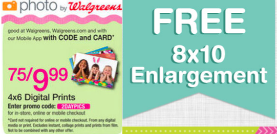 Whether you're looking to create wall prints to hang in your living room or holiday cards to send to family, Walgreens Photo makes it quick and easy to make a picture-perfect gift online. Save on a wide range of products and services with Walgreens Photo promo codes, including: Photo prints, collages, and photo books made with photos uploaded.
