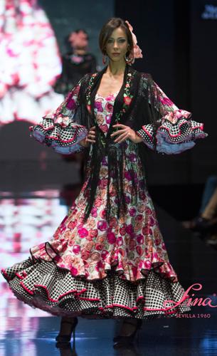 traje flamenca 2016 estampado de Lina