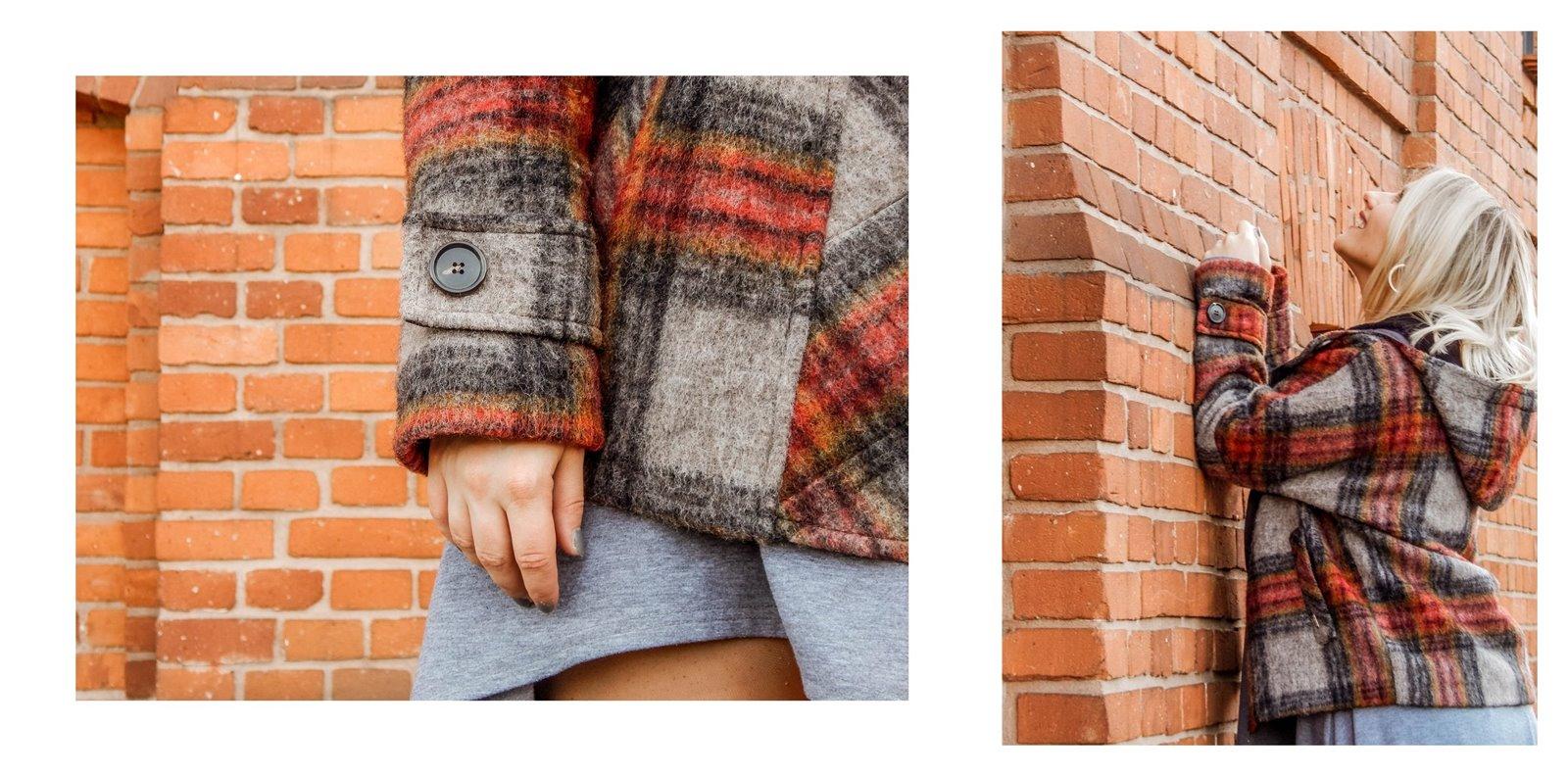 10a płaszcz - ubranie, moda polska, hot moda, moda damska jesień 2018, moda for you, net moda, blog, blogerki fashion łódź anataka kurtka w kratkę ciepła kurtka stylizacje w co się ubrać eleganckie kurtki blondynka