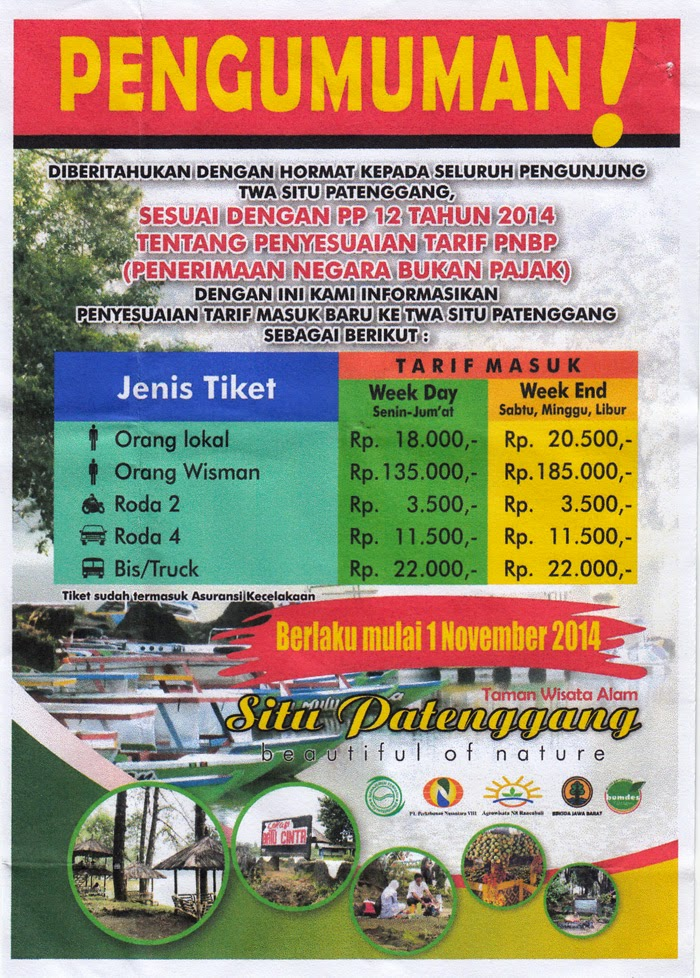 Tiket masuk Situpatenggang April 2017