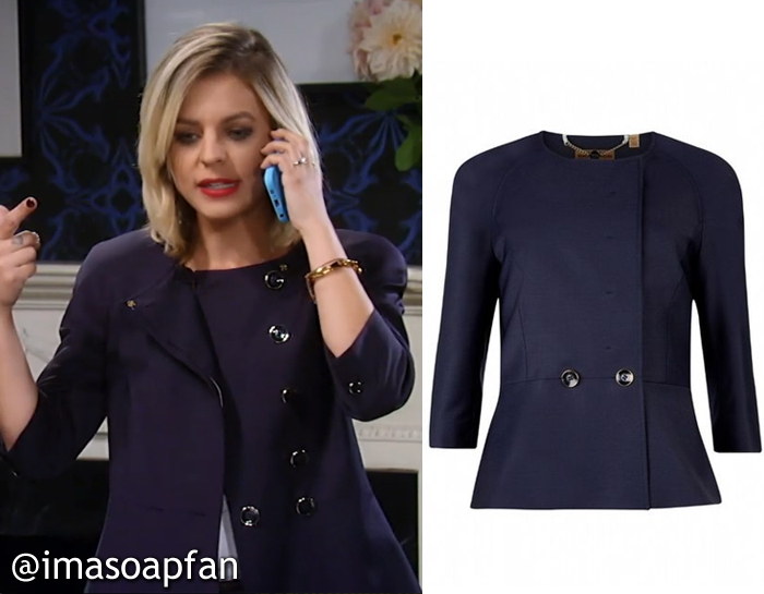 General Hospital, GH, Kirsten Storms, Maxie Jones, Navy Blue Peplum Blazer