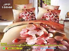 Sprei Custom Katun Jepang Panel Bunga 3D Anggrek Senja Krem Moka Pink Dewasa