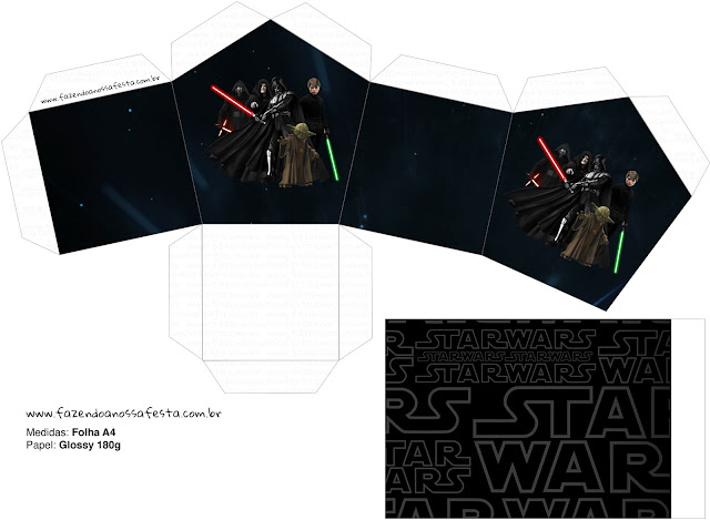 Caja con forma de Casa para Imprimir Gratis de Star Wars.