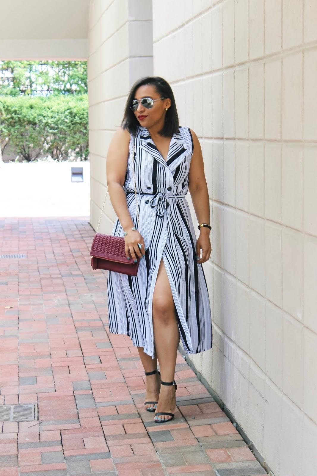 summer dress, spring dress, striped dress, shoulder bag, fringe purse, ankle strap heels, bob haircut, summer bucket list