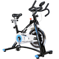 L Now D600 Indoor Cycling Bike, spin bike with 22 lb flywheel, belt drive, adjustable resistance, multi-grip handlebars, 4-way adjustable saddle, LCD monitor