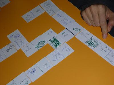 Handgemachte Dominokarten Bild<>Wort