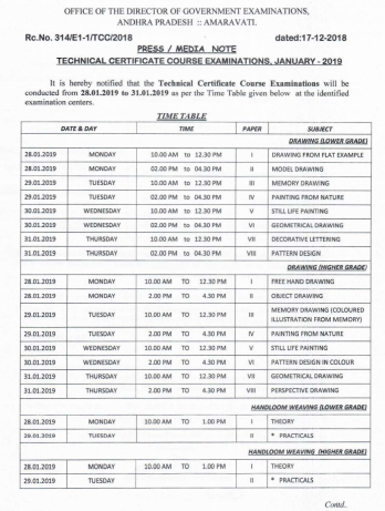T.C.C Exams,January-2019 Time table RC.No.314