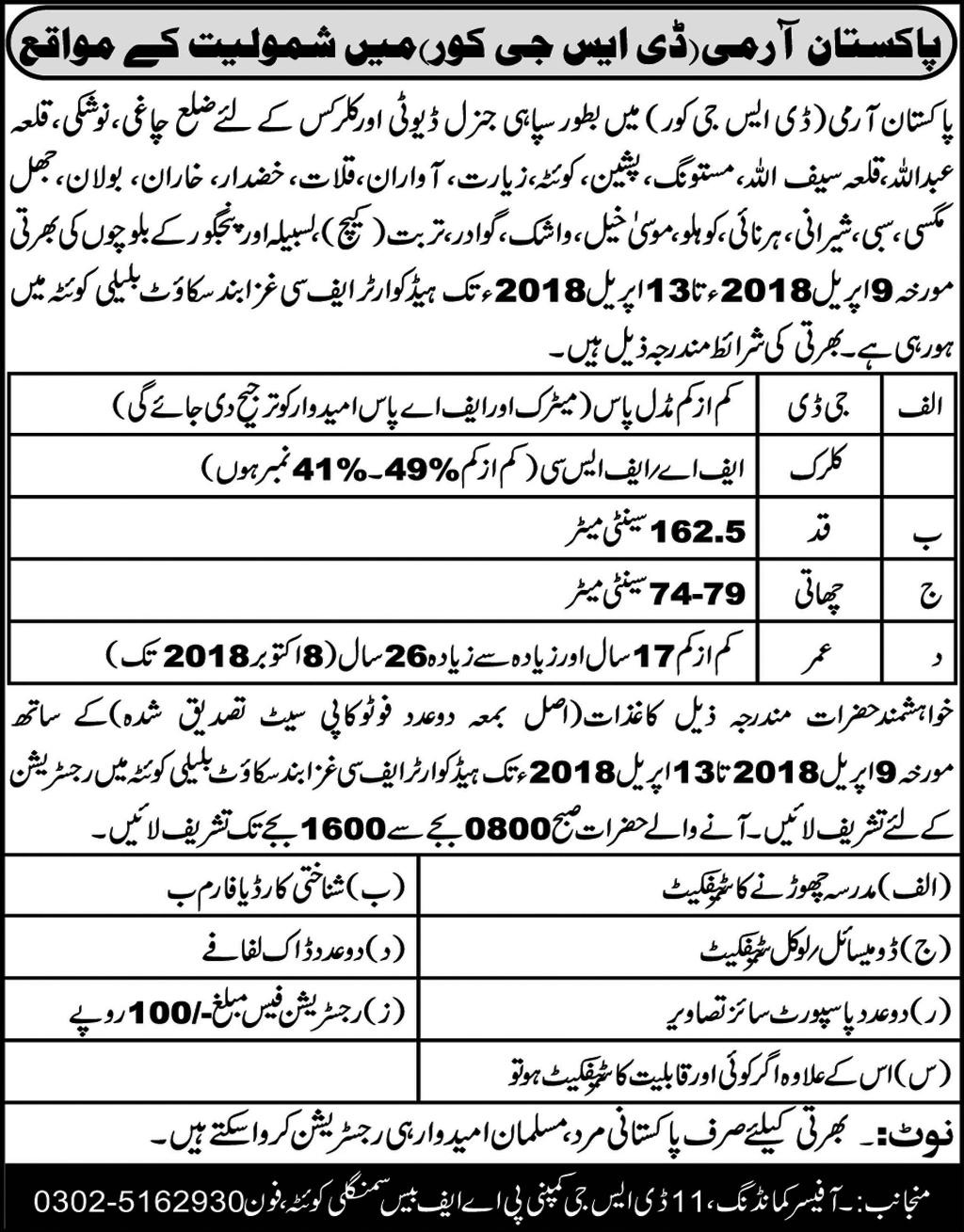 Jobs in Pakistan Army for Clerks and Sipahi Balochistan 2018