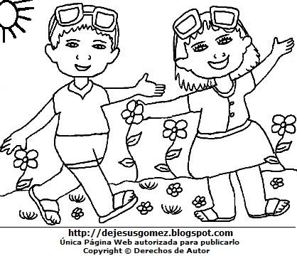 Dibujo de la estación de primavera para colorear, pintar o imprimir  (Niños felices con flores en primavera). Dibujo de primavera hecho por Jesus Gómez