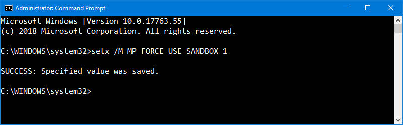 How to enable Windows Defender to run in a sandbox?