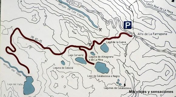 Mapa de los lagos de Saliencia, Asturias
