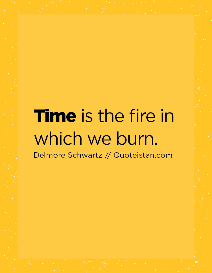 Time is the fire in which we burn.