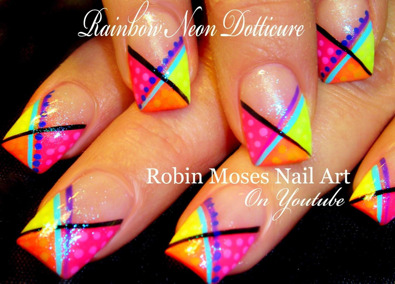 Bright Neon Spring Rainbow Dotticure Nail Art