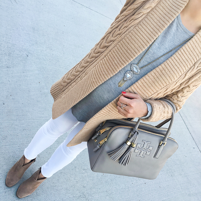 Ann Taylor boatneck tunic sweater, Ann Taylor cable knit open cardigan, BP crossover ring, Ily Couture crystal tiered pendant necklace. Tory Burch grey Thea satchel, J.Crew toothpick maternity petite white jeans, Vince Camuto franell ankle booties