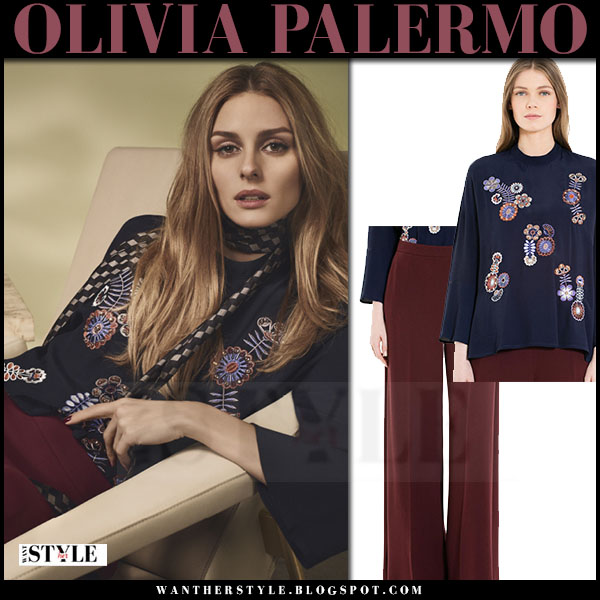 Olivia Palermo in navy embroidered blouse and burgundy pants max and co fall winter 2016 campaign what she wore