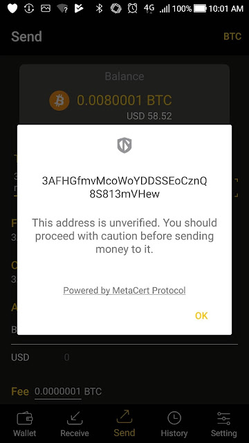The MeteCerta Protocol in action on the CoolWallet S.
