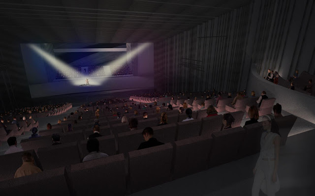 Rendering of main hall in new opera house in Busan