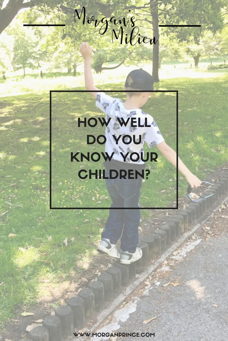 "An image for pinterest, a young boy walks along a short wooden fence, using his arms out by his sides to balance. Over the top of the photo there is a black square with the words ""How well do you know your children?"" inside it. At the top of the image there's a logo for ""Morgan's Milieu"" and at the bottom of the page it reads www.morganprince.com"