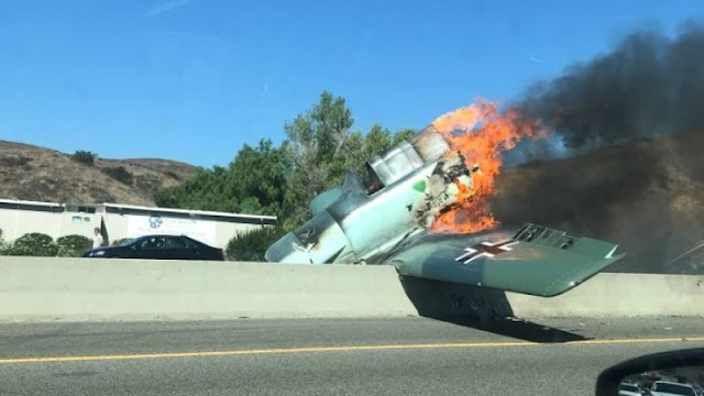#TrueNews,#TopStory :German plane with Luftwaffe signs crash on 101 Freeway in Los Angeles California !
