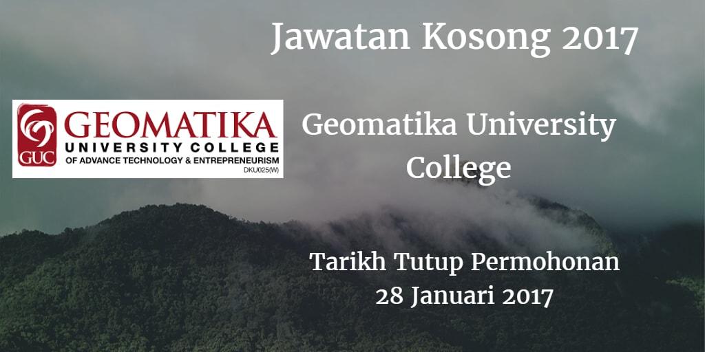 Jawatan Kosong Geomatika University College 28 Januari 2017