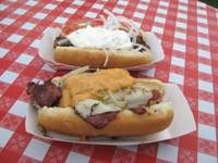 Gyro Hot Dog and Reuben Hot Dog from Dog House Grill at the Chicago Hot Dog Fest in Chicago, Illinois