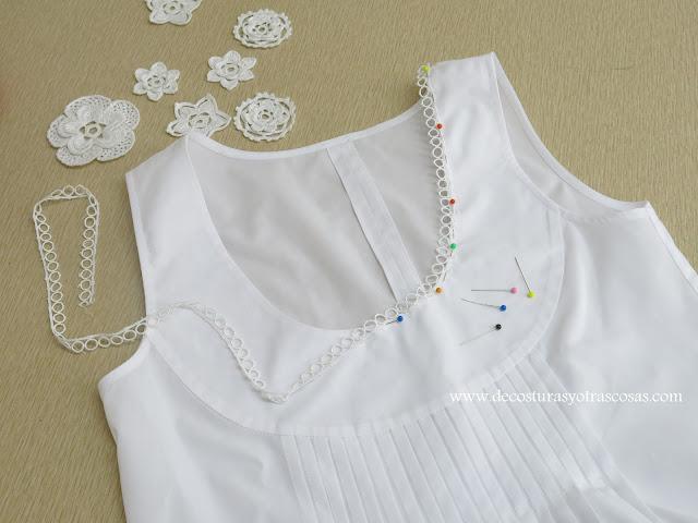 aplicar puntilla en un cuello terminado