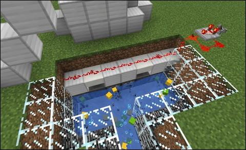 Minecraft Redstone Circuit クロック回路とドロッパー 水路へアイテムを放出する図