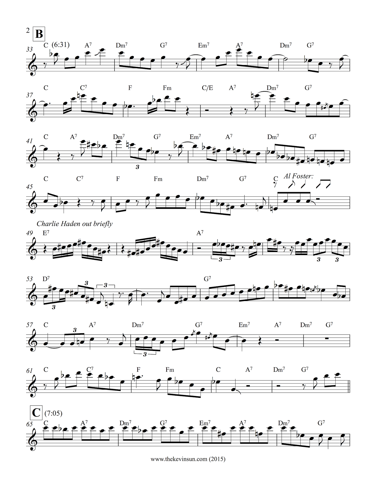 "Joe Henderson Solo Transcription – ""Passport"" (Bb) 2"