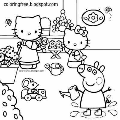 Girls coloring in Hello Kitty cartoon drawing Peppa Pig printables mummy pig working garden flowers