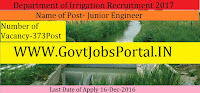 Department of Irrigation Recruitment for 373 Engineer Posts 2017