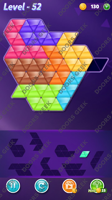 Block! Triangle Puzzle 8 Mania Level 52 Solution, Cheats, Walkthrough for Android, iPhone, iPad and iPod
