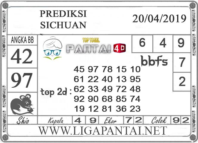 """Prediksi Togel """"SICHUAN"""" PANTAI4D 20 APRIL 2019"""