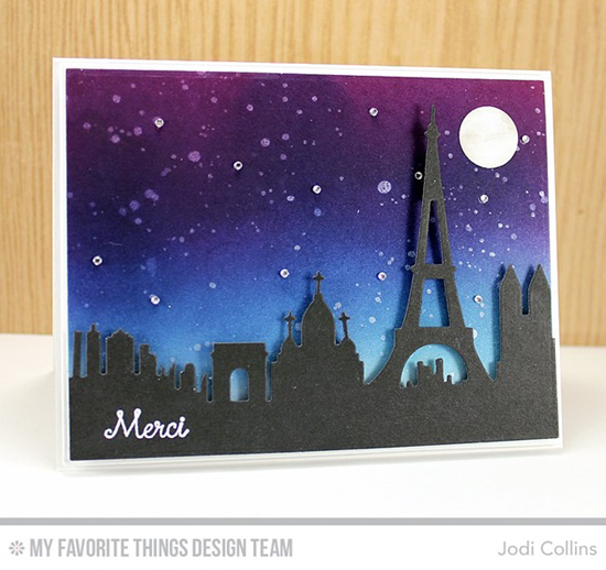 Handmade card from Jodi Collins featuring Birdie Brown Mon Cheri stamp set, and Paris Skyline Die-namics #mftstamps