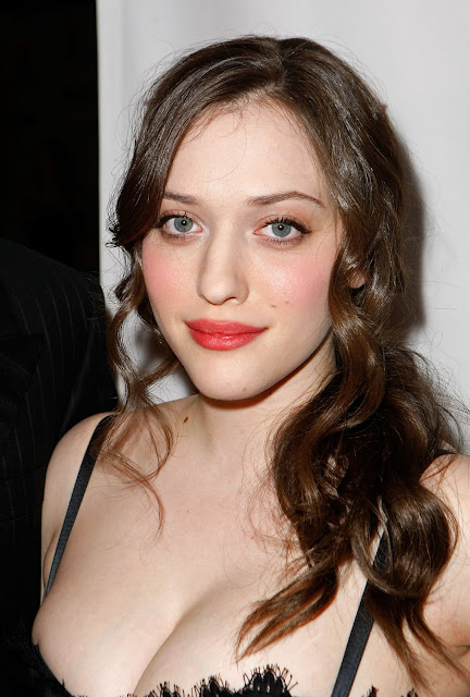 Iesikin Hot Kat Dennings Cleavage In White Dress-8461