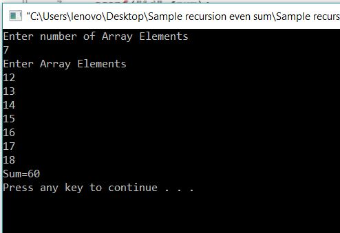 Print Sum of Even Numbers in Array using Recursion