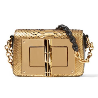 Tom Ford Natalia mini handbag in gold python leather and with a large gold turnlock