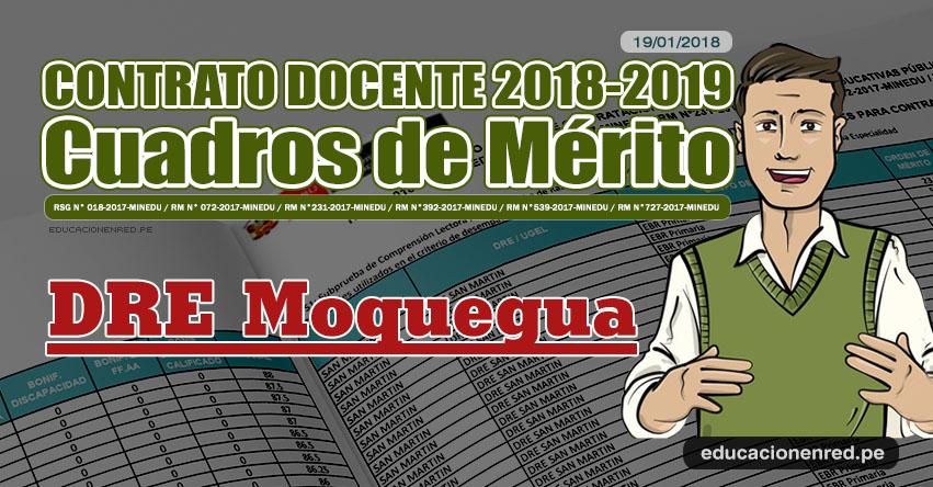 DRE Moquegua: Cuadros de Mérito Contrato Docente 2018 - 2019 (.PDF) www.dremoquegua.gob.pe