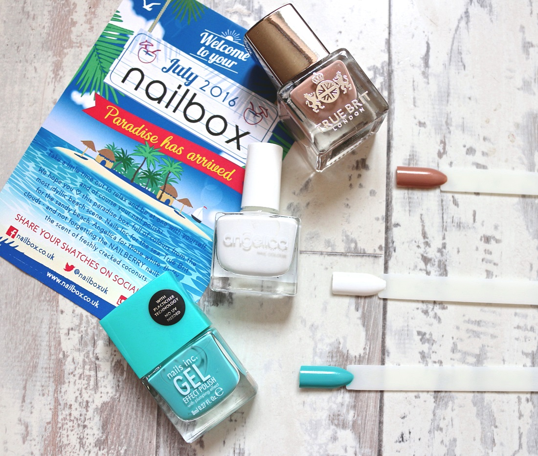 Nailbox July 2016 Nails Inc. Gel Effect in Soho Place, True Brit London in The Summer House and Angelica Nails in Snow White.