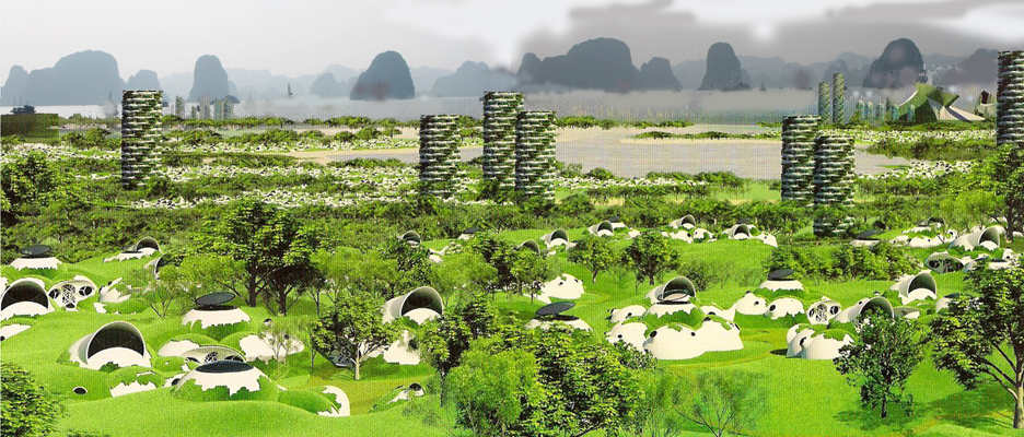 Green Dome Homes Made from Inflatable Concrete in very low