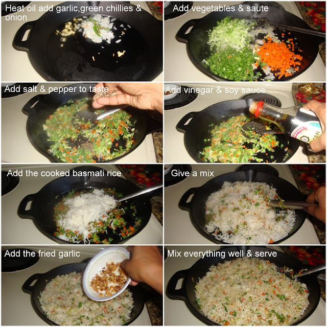 images of Burnt Garlic Vegetable Fried Rice Recipe /  Burnt Garlic Fried Rice