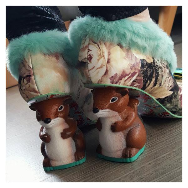 wearing irregular choice furry o nutty squirrel heels