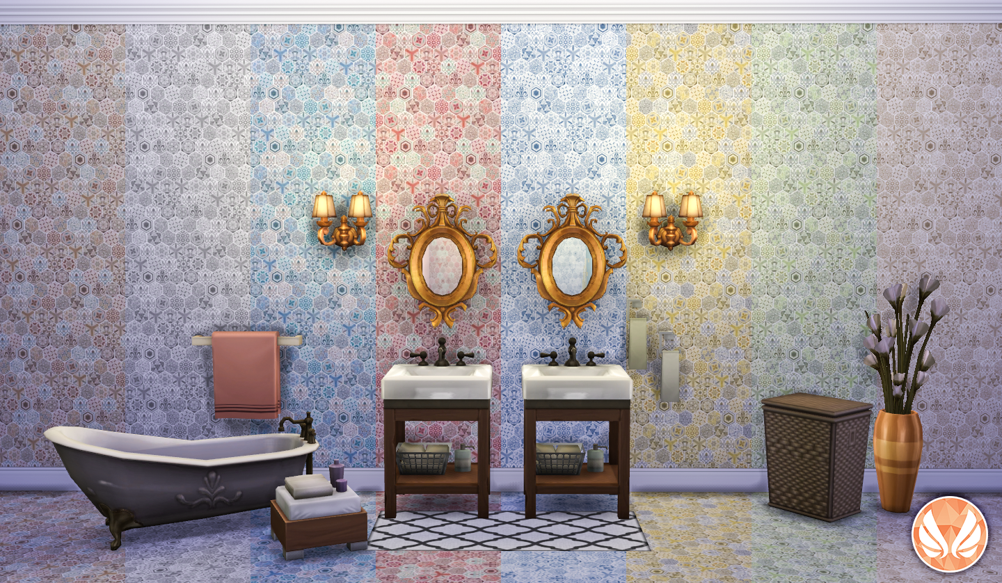 Simsational Designs: Classic Wall Set - Eclectic Hexagon Tile Walls ...