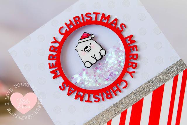 Merry Christmas from Bitty Bear - a Pocket Shaker Card MFT