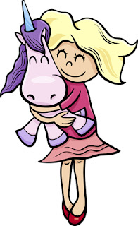 Clipart image of a little girl hugging a unicorn