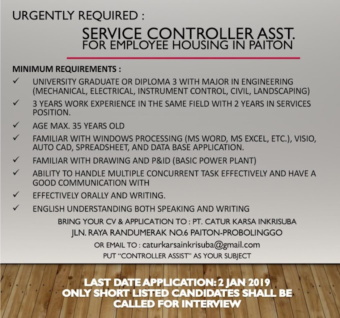 Urgently Required Service Controller Asst. In PT CATUR KARSA INKRISUBA