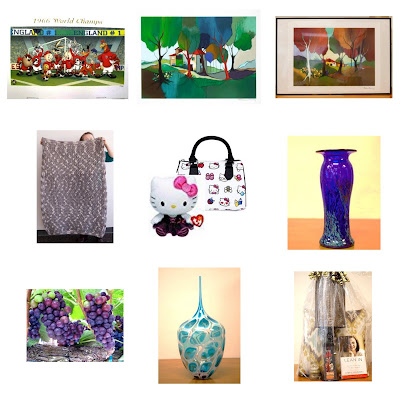 Composite of multiple images including painting of trees, cartoon of animals playing sports, rug, hello kitty doll and purse, blue vase, grapes, blue and white vase, smiling person